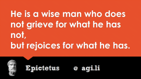 He is a wise man who does not grieve for what he has not, but rejoices for what he has.